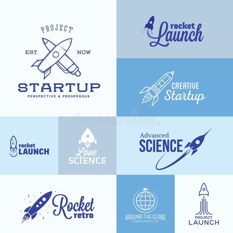 Комплект логотипа Ракеты вектора иллюстрация вектора