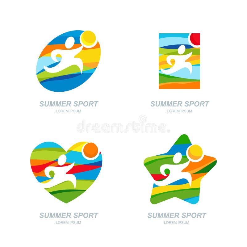 Комплект логотипа спорта лета вектора, ярлыков, значков, эмблем Человек резвится значки иллюстрация вектора
