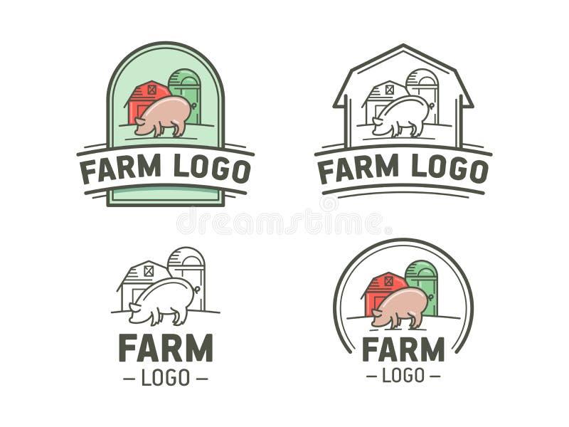 Комплект логотипа фермы иллюстрация штока