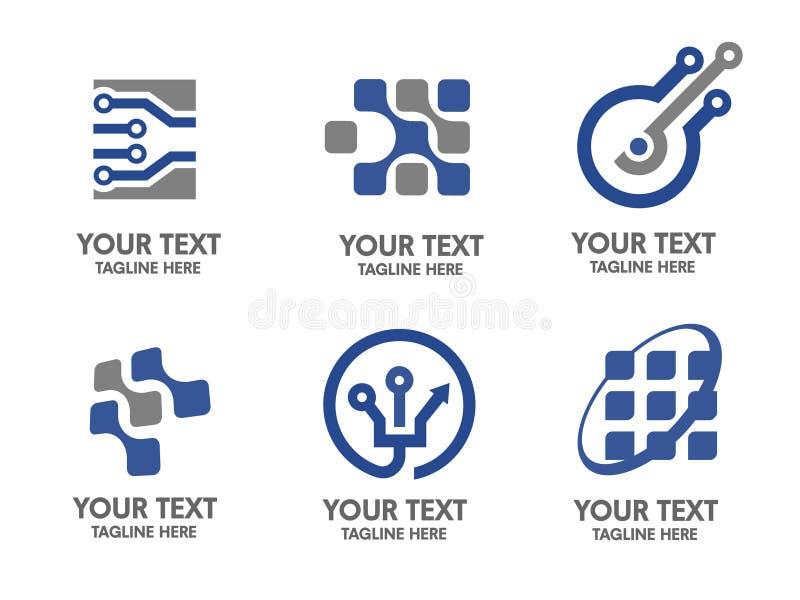 Комплект логотипа цифровой электроники иллюстрация штока