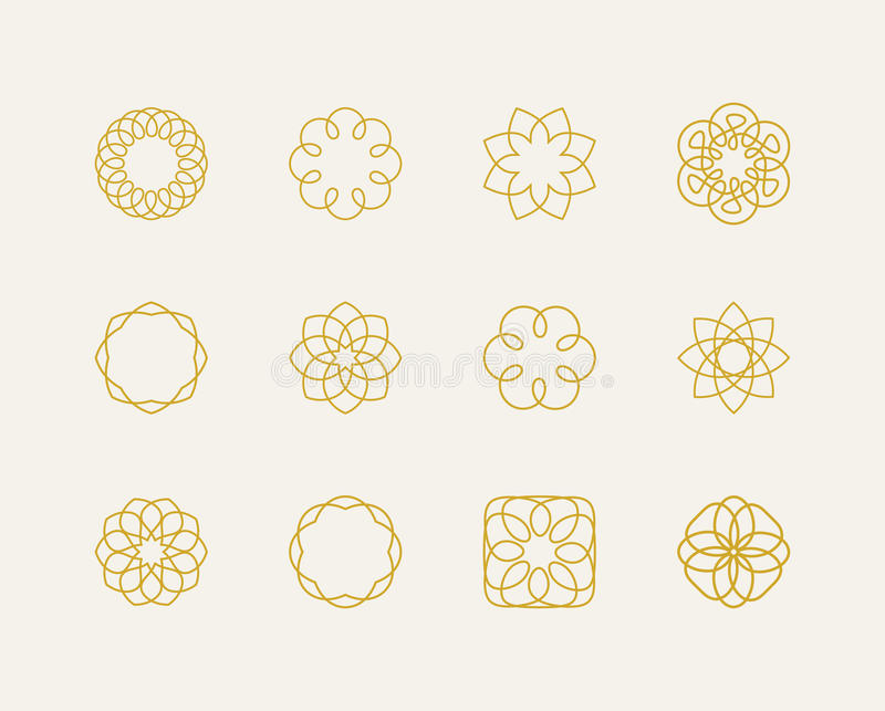 Комплект логотипа шаблона битника иллюстрация вектора