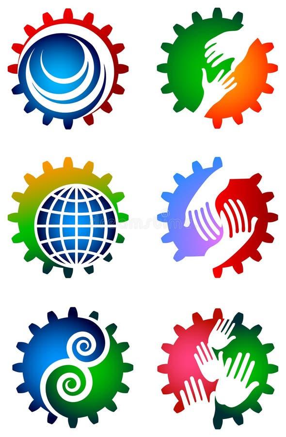 Комплект логотипа шестерни иллюстрация штока