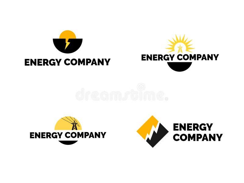 Комплект логотипа энергии иллюстрация вектора