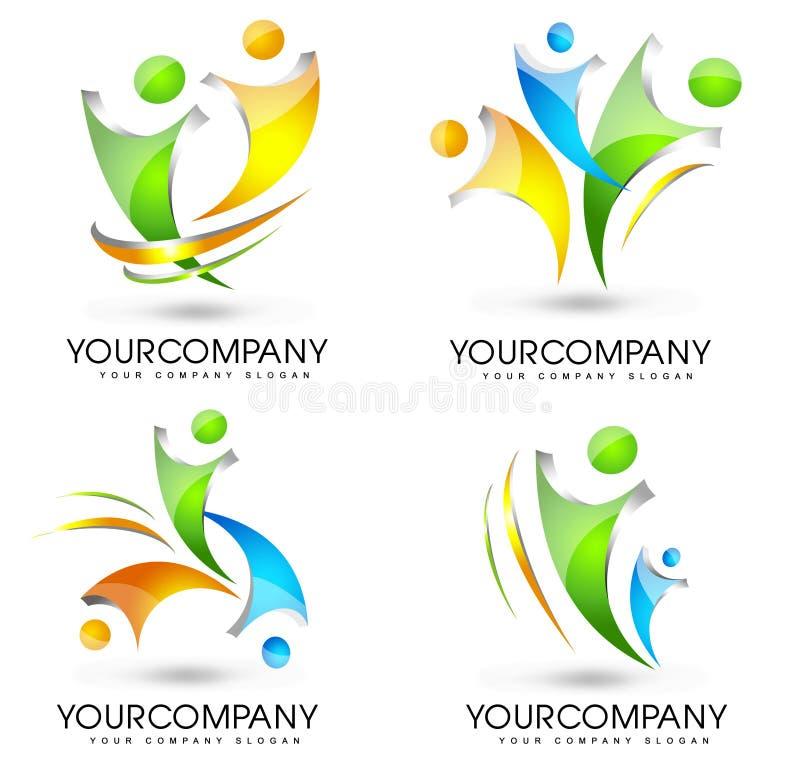 Комплект логотипа людей иллюстрация штока