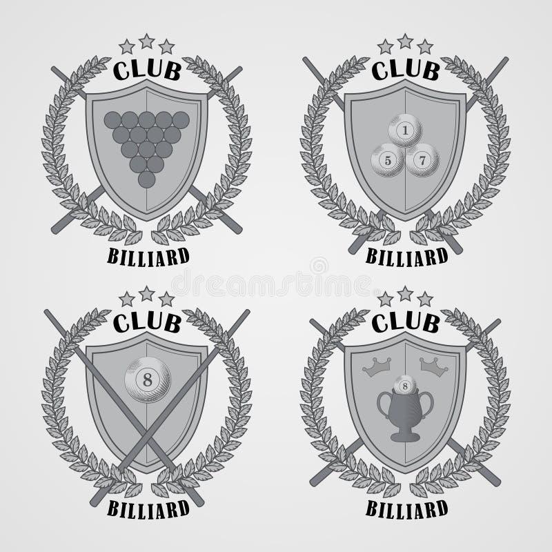 Комплект логотипов биллиарда и элементов дизайна иллюстрация штока
