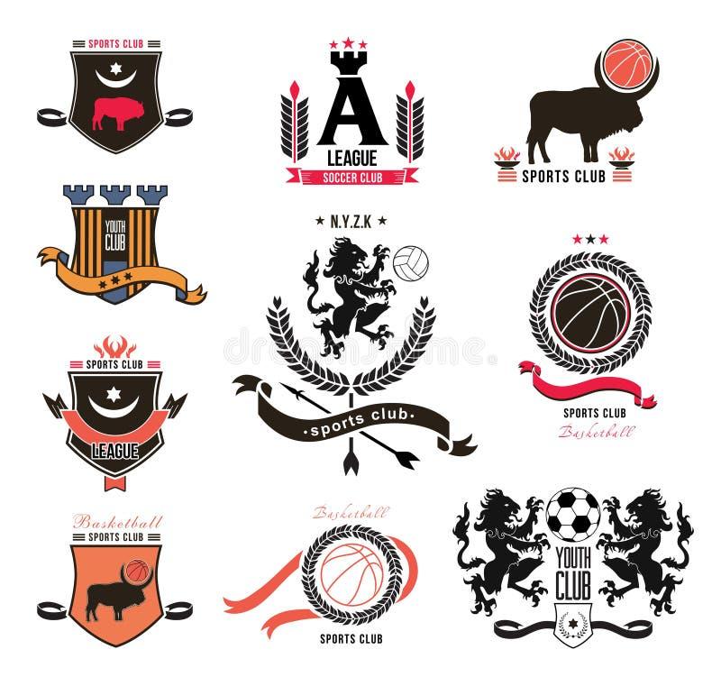 Комплект логотипов в стиле геральдики, эмблем спорт, элемента дизайна иллюстрация вектора