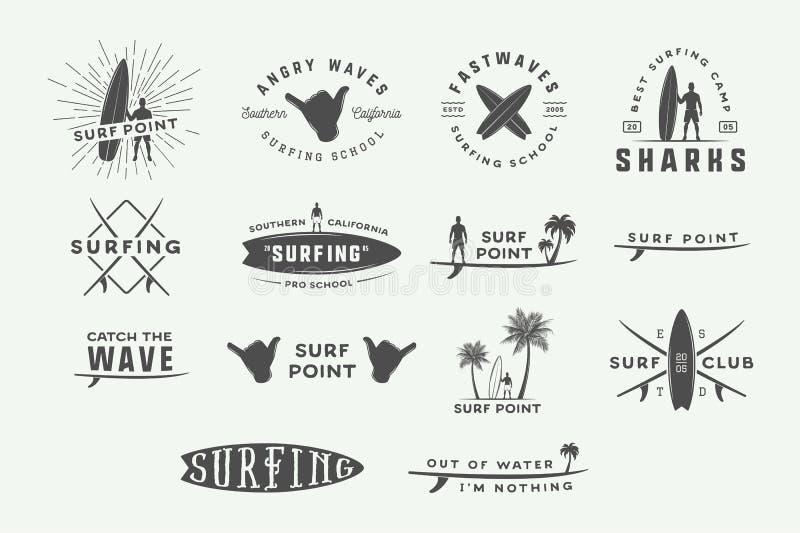 Комплект логотипов года сбора винограда занимаясь серфингом, эмблем, значков, ярлыков иллюстрация штока