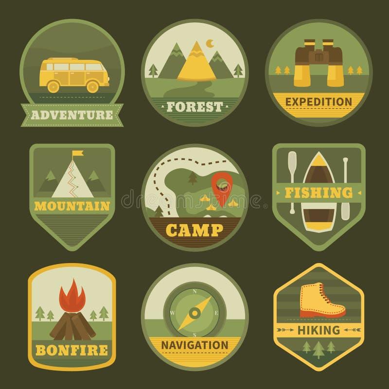 Комплект логотипов года сбора винограда располагаясь лагерем иллюстрация вектора