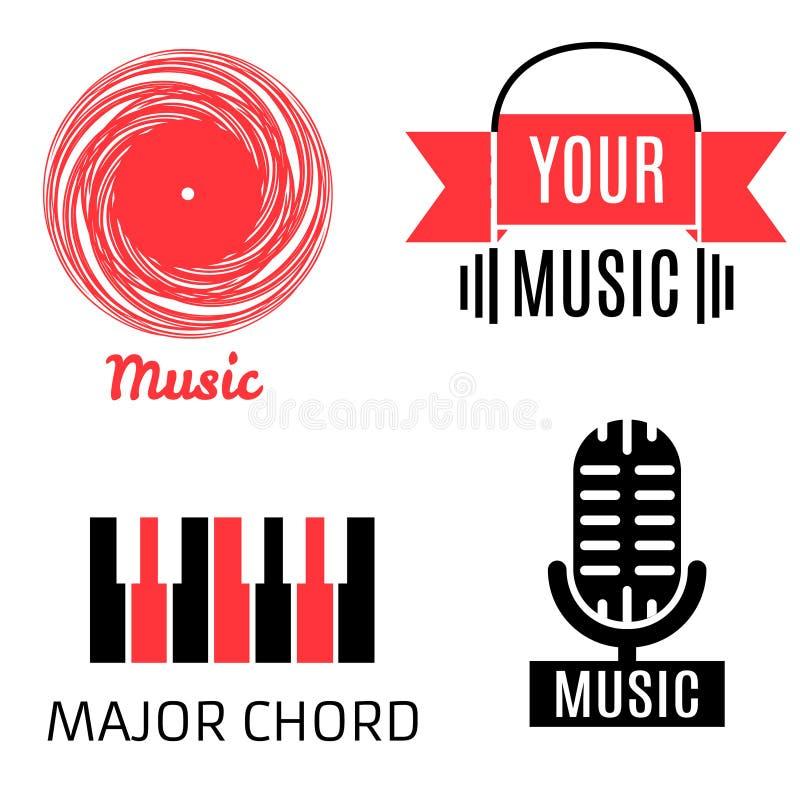 Комплект 4 логотипов музыки (показателя, микрофона, рояля, наушников) иллюстрация штока