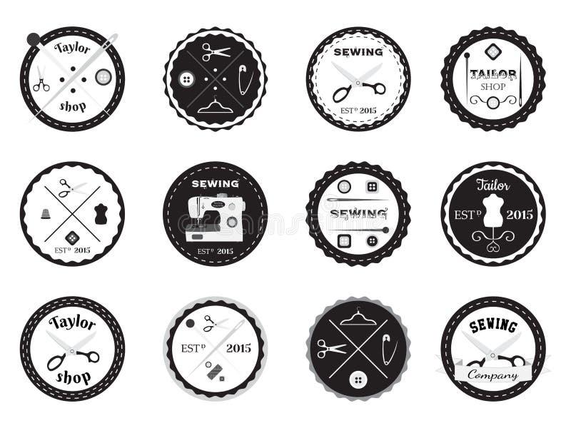 Комплект логотипов портноя, ярлыков, эмблем и конструированных элементов иллюстрация вектора