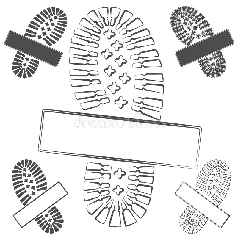 Комплект логотипов с следами ноги ботинок объекты вектора на белизне бесплатная иллюстрация