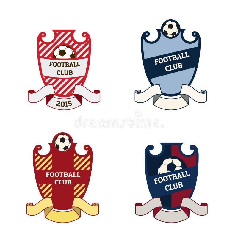 Комплект логотипов футбола футбола иллюстрация штока