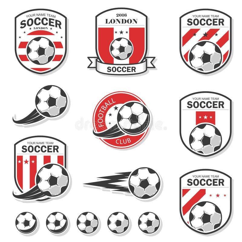Комплект логотипов футбола стоковые изображения
