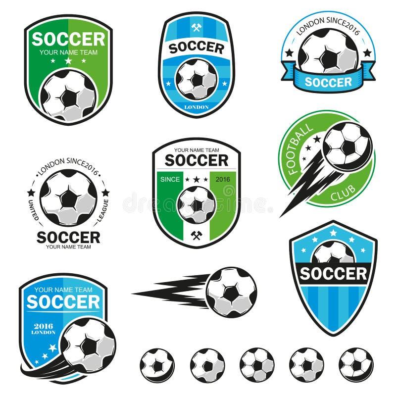 Комплект логотипов футбола стоковое изображение