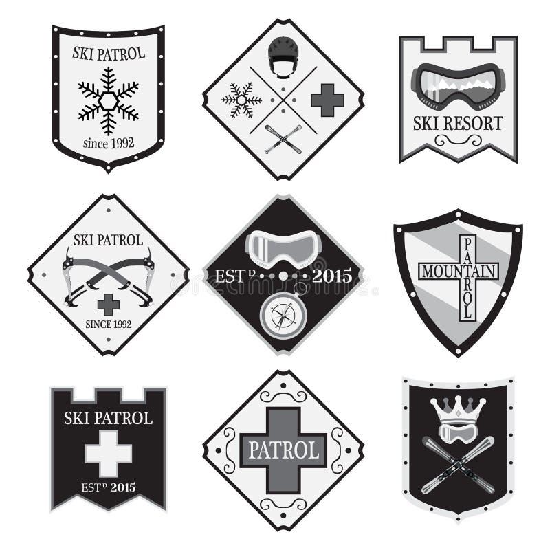Download Комплект логотипов лыжи, патруль лыжи, прокат в плоском стиле Скорая помощь горы Иллюстрация штока - иллюстрации насчитывающей график, insignia: 81802428