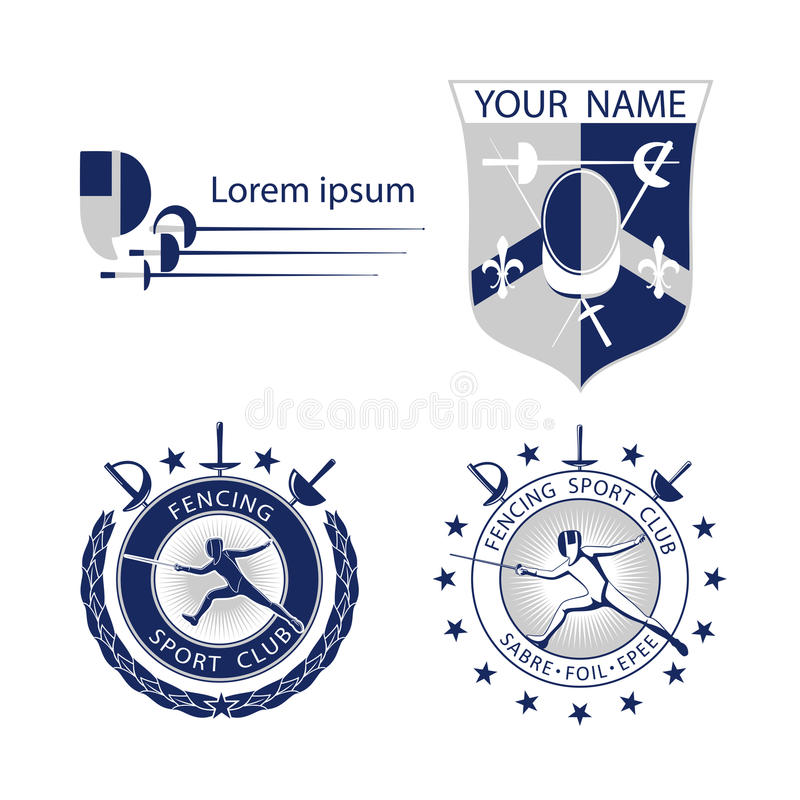 Комплект ограждать резвится логотипы, значки, ярлыки, эмблемы, значки на белой предпосылке иллюстрация штока