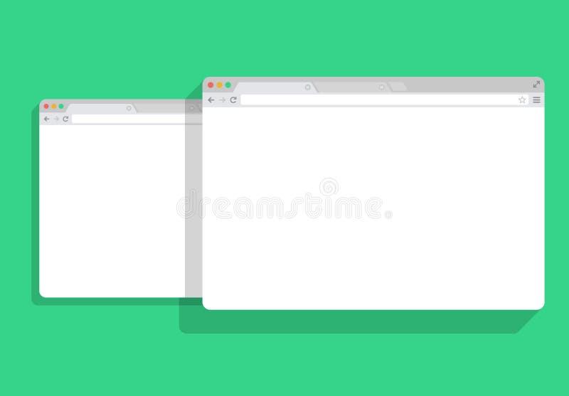 Комплект окна браузера белый, зеленая предпосылка сети простой, иллюстрация вектора модель-макета иллюстрация вектора