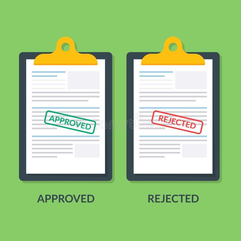 Комплект документов на доске сзажимом для бумаги Одобрено печатание или брак Налоговая декларация или документ кредита Документац иллюстрация вектора