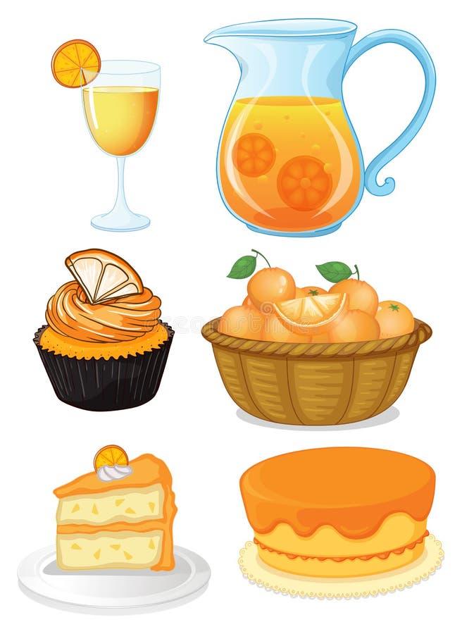 Комплект оранжевых десертов и сока иллюстрация вектора