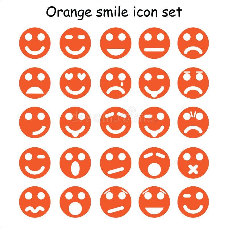 Комплект оранжевых смайликов стоковое фото rf