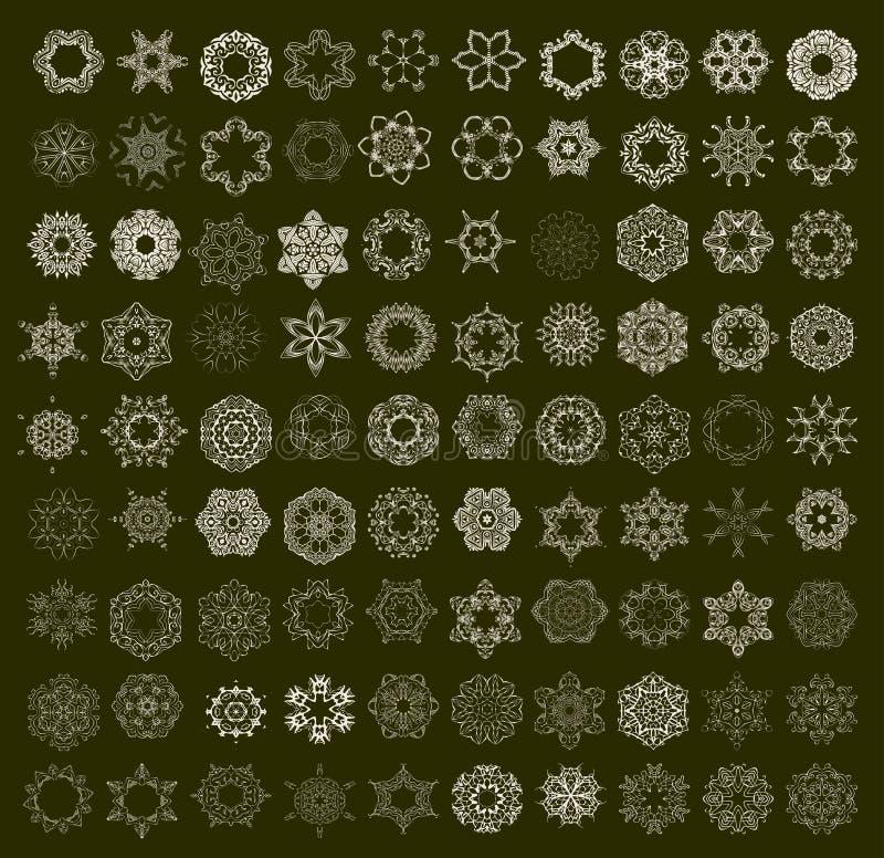Комплект орнамента круглый с мандалой иллюстрация вектора