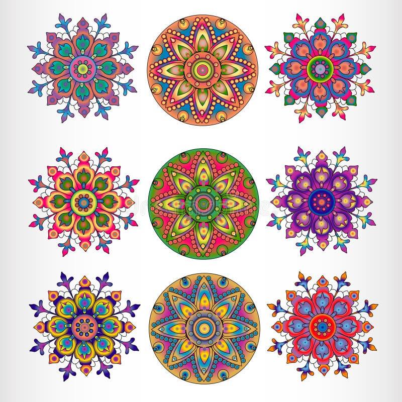 Комплект орнаментальной круглой картины шнурка 9. иллюстрация штока