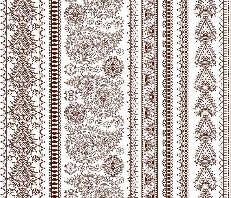 Комплект орнаментальных безшовных границ в индийском стиле иллюстрация вектора