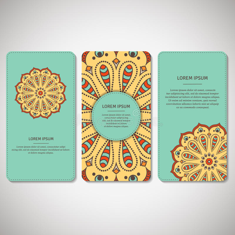 Комплект орнаментальных карточек, рогулек с мандалой цветка в ярком tu иллюстрация штока