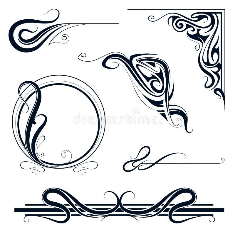 комплект орнамента nouveau искусства бесплатная иллюстрация