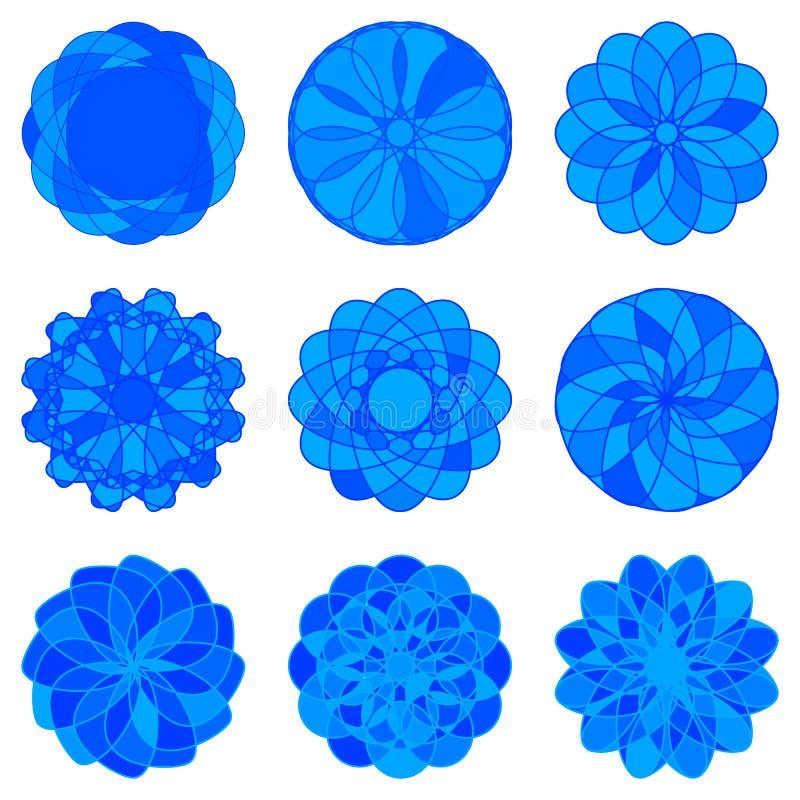Комплект орнаментов круга геометрических вектор иллюстрация вектора