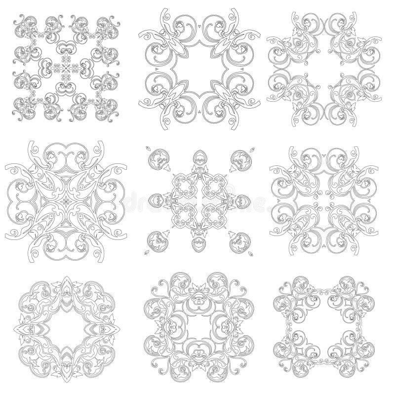 Комплект орнаментов чернит белые карточки с мандалами иллюстрация штока