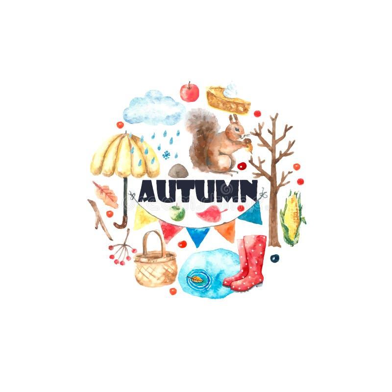 Комплект осени акварели бесплатная иллюстрация