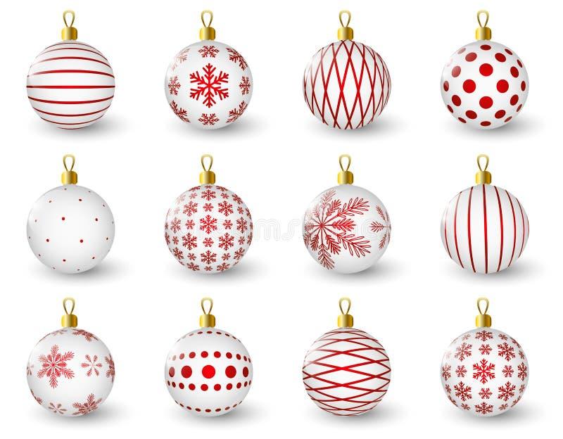 Комплект лоснистых шариков рождества бесплатная иллюстрация