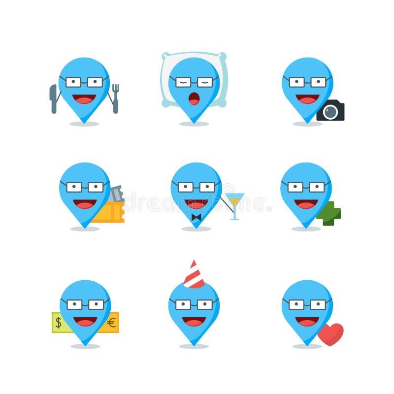 Комплект отметок, знаков и значков перемещения вектора Метки отображения Pin с человеком в различных положениях иллюстрация вектора