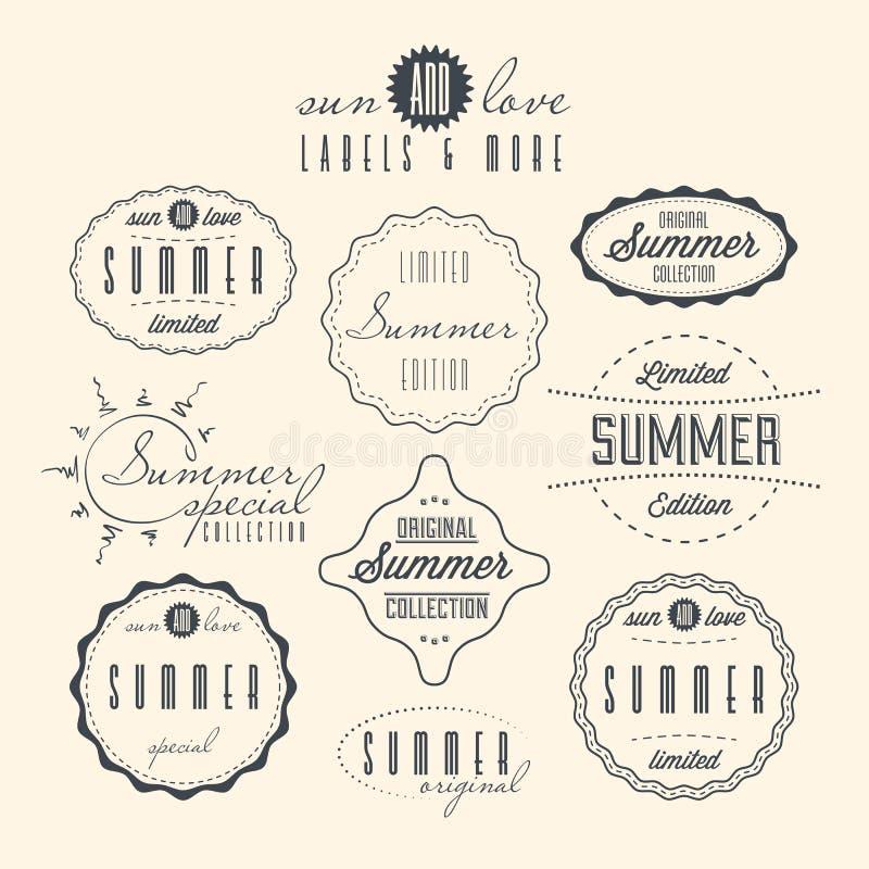 Комплект отнесенных летом ярлыков года сбора винограда иллюстрация вектора