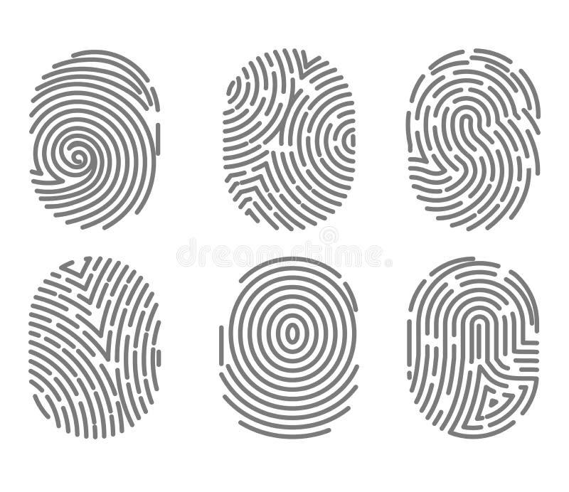 Комплект отпечатка пальцев печатает с переплетенными линиями вектором изолированным знаками иллюстрация вектора