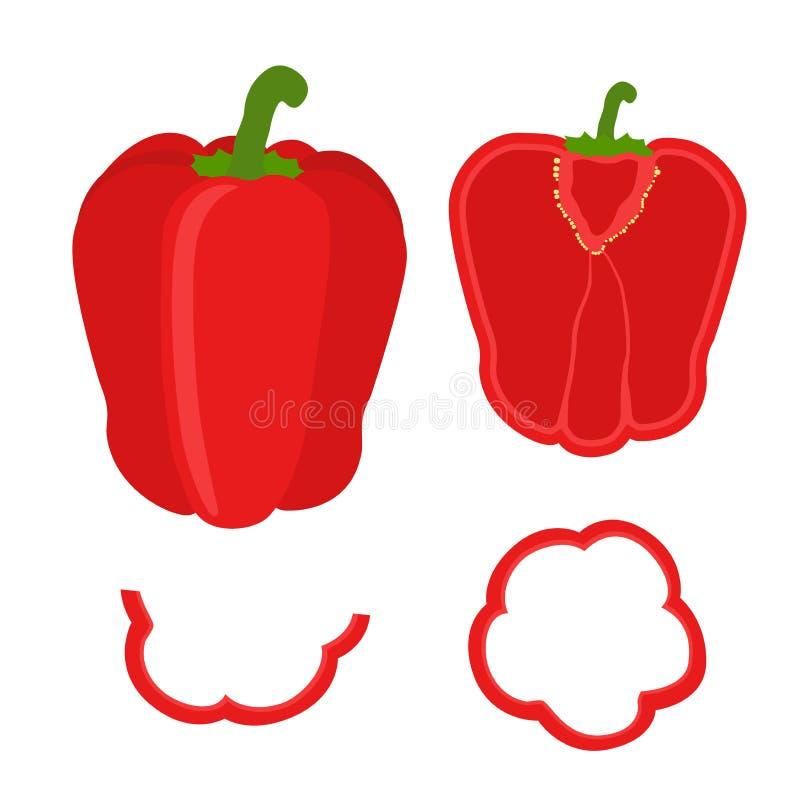 Download Комплект отрезанного красного болгарского перца Кольца, половина и квартал перца Иллюстрация штока - иллюстрации насчитывающей иллюстрация, зябко: 81802337