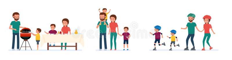 Комплект отдыха семьи Пикник Bbq, прогулка в парке атракционов, кататься на коньках ролика Белая предпосылка иллюстрация штока