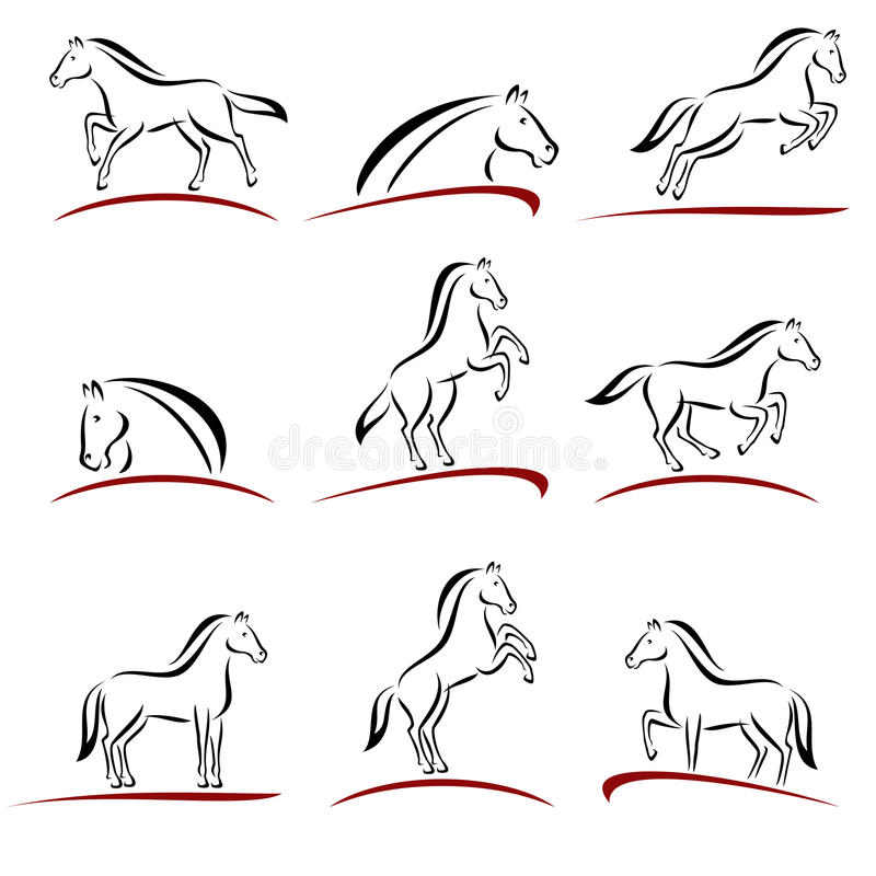 Комплект лошади вектор иллюстрация вектора