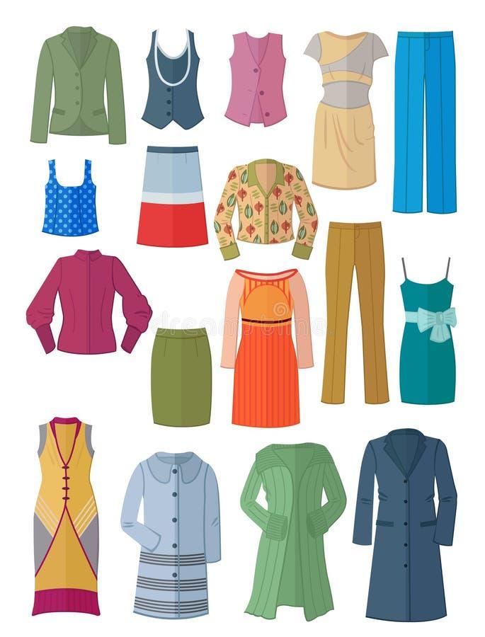 Комплект одежд женщин в плоском дизайне иллюстрация штока