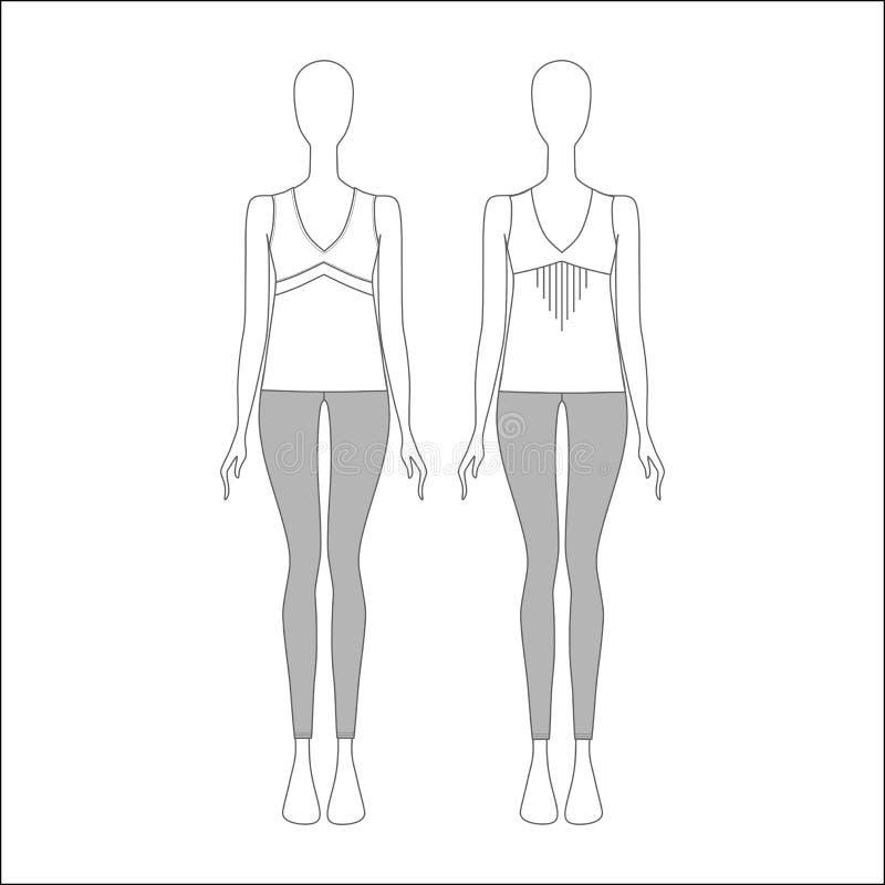 Комплект одежд для девушек женщины одежды s Джинсыы top шлямбур иллюстрация штока