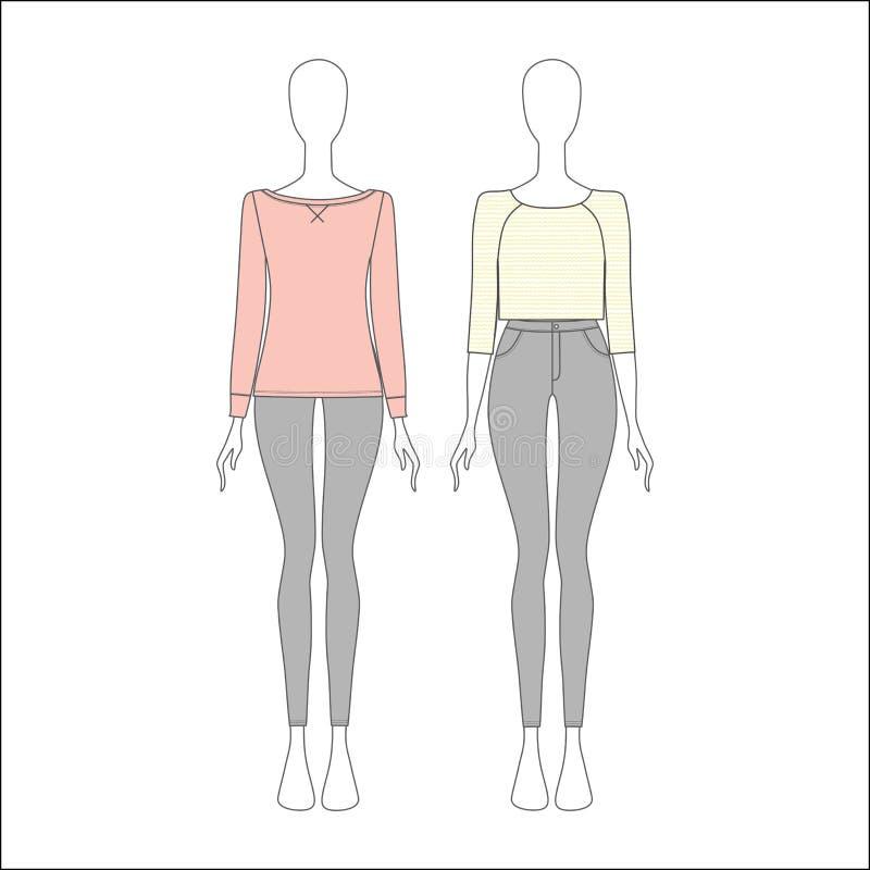 Комплект одежд для девушек женщины одежды s Джинсыы top шлямбур бесплатная иллюстрация