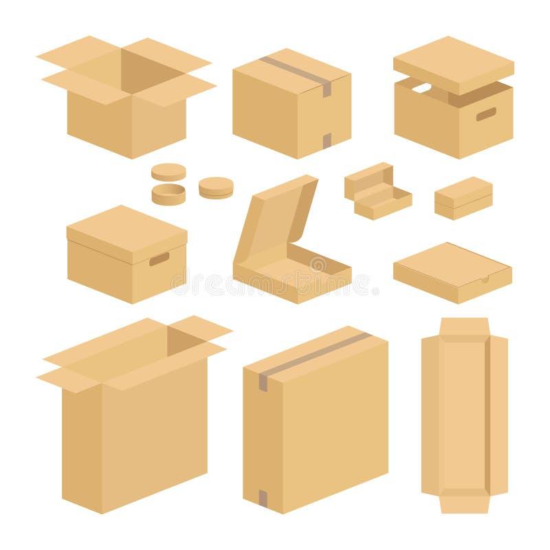 Комплект пакета коробки коробки иллюстрация вектора