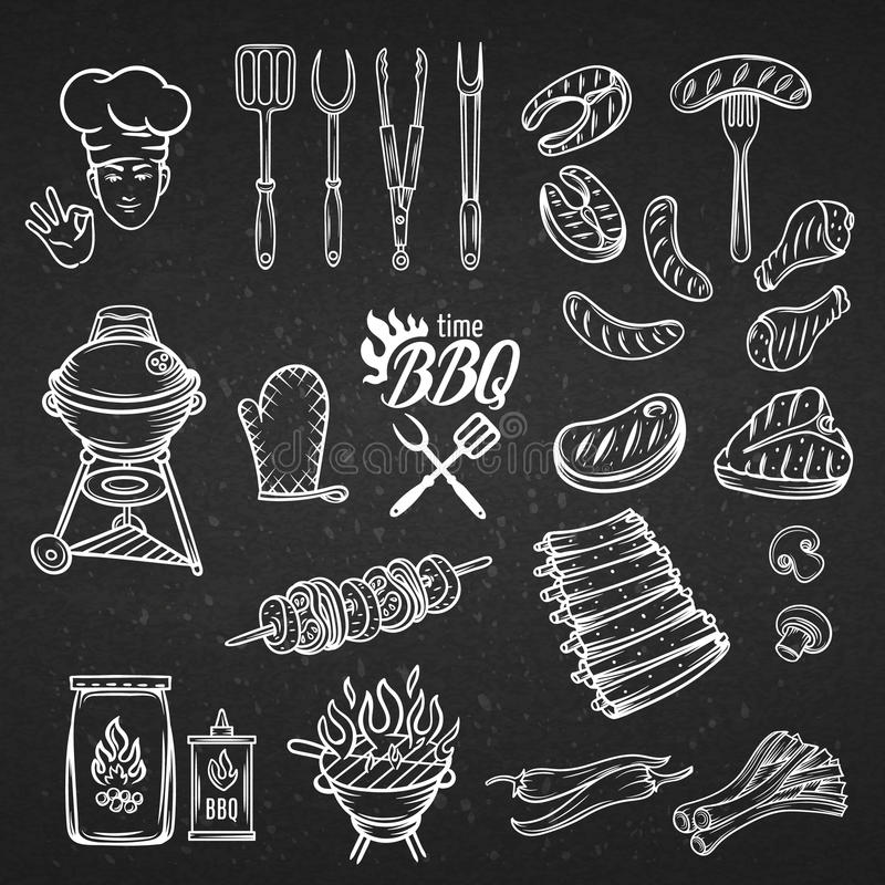 Комплект партии пиршества BBQ иллюстрация штока