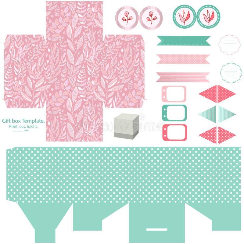 Комплект партии шаблона подарочной коробки бесплатная иллюстрация