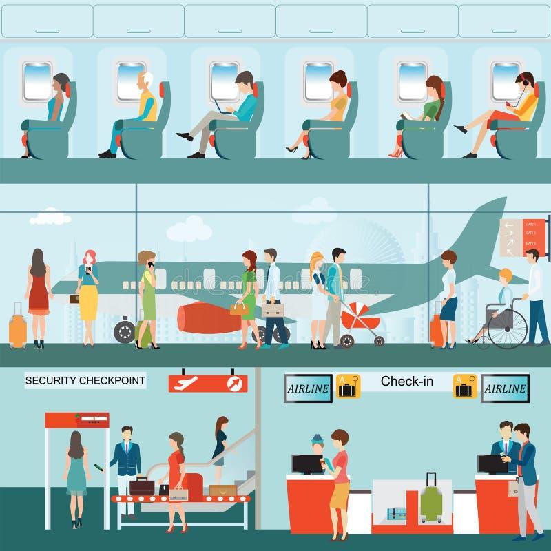 Комплект пассажирской авиалинии на крупном аэропорте иллюстрация штока