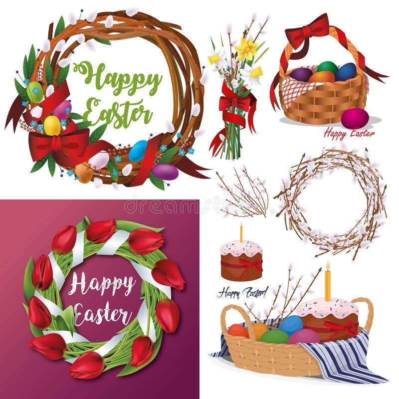 Комплект пасхи флористические венки, тюльпаны, корзина вербы с тортами пасхи и покрашенные яичка бесплатная иллюстрация