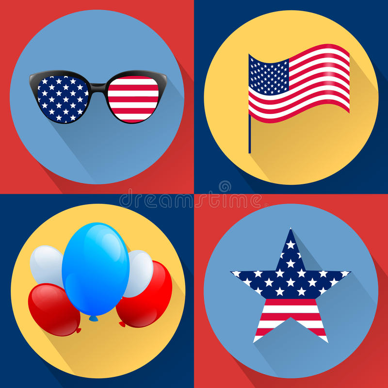 Комплект патриотических векторов предназначенных к четверти от июля День независимости США бесплатная иллюстрация
