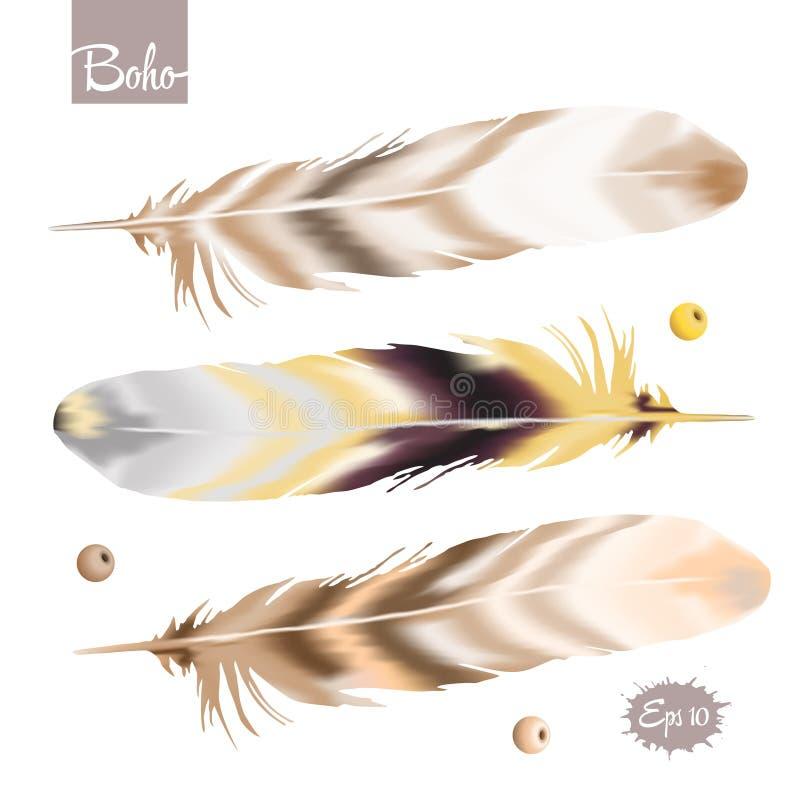Комплект пера цвета в стиле boho иллюстрация штока