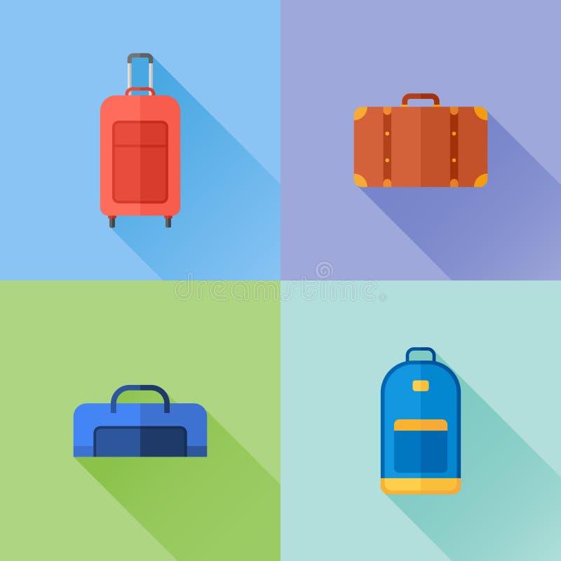 Комплект перемещения кладет плоские значки в мешки Чемодан, случай багажа, рюкзак бесплатная иллюстрация